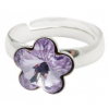 Сребърен пръстен с кристал Сваровски Лавандулово цвете