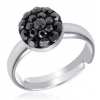 Сребърен пръстен с кристали Сваровски Черен Кехлибар