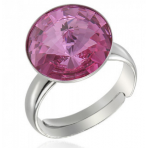 """Сребърен пръстен с кристал Сваровски с цвят """"Розе"""""""