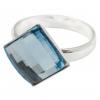 Сребърен пръстен с кристал Сваровски Морско синьо