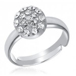 Сребърен пръстен с кристали Сваровски Кристално Ясен