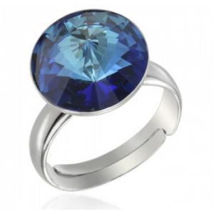 Сребърен пръстен с кристал Сваровски кръгъл Бермудско Синьо