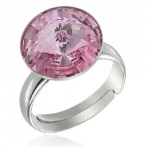 Сребърен пръстен с кристал Сваровски кръгъл Светло Розов