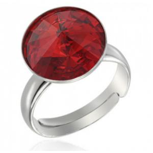 Сребърен пръстен с кристал Сваровски кръгъл Рубин