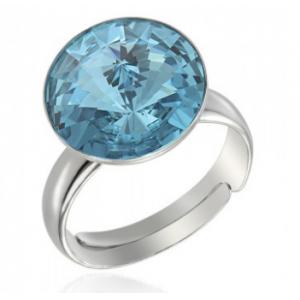 Сребърен пръстен с кристал Сваровски кръгъл Светъл Тюркоаз