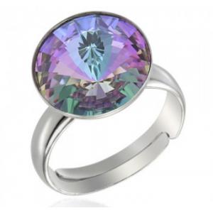 Сребърен пръстен с кристал Сваровски кръгъл Светъл Хамелеон