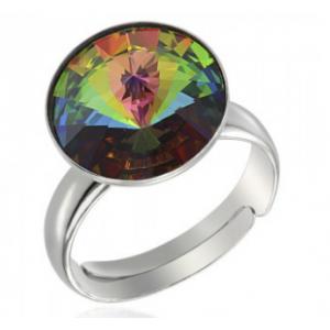 Сребърен пръстен с кристал Сваровски кръгъл Тъмен Хамелеон