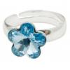 Сребърен пръстен с кристал Сваровски Морско синьо Цвете