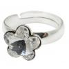 Сребърен пръстен с кристал Сваровски Цвете Кристално Ясен
