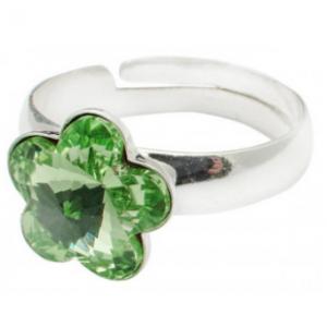Сребърен пръстен с кристал Сваровски Цвете Оливин