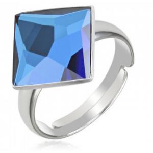 Сребърен пръстен с кристал Сваровски квадрат Бермудско Синьо