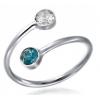 Сребърен пръстен с двойка кристали Сваровски Сапфир