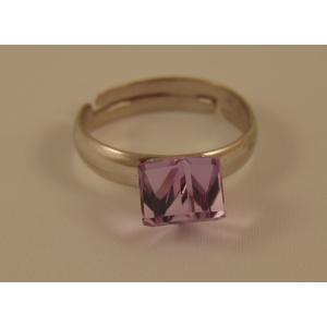 Сребърен пръстен с Виолетово Кубче
