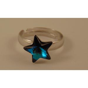 Сребърен пръстен със Сваровски звезда Бермудско синьо